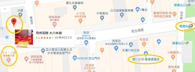 双連駅近辺の地図